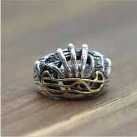 Personality Sterling Silver 925 hell rebirth domineering ring for men's opening ring Thai silver antique jewelry ring