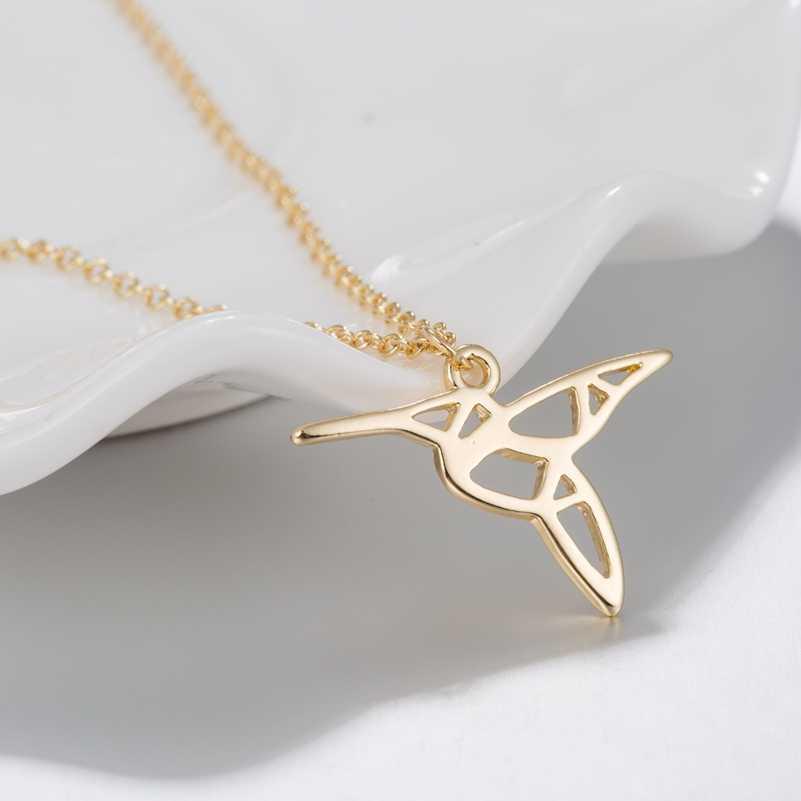 SMJEL אופנה אוריגמי Hummingbird שרשראות לנשים גיאומטרי בעלי החיים ציפור תליון הצהרת קולר 2019 קולייר תכשיטי מתנות