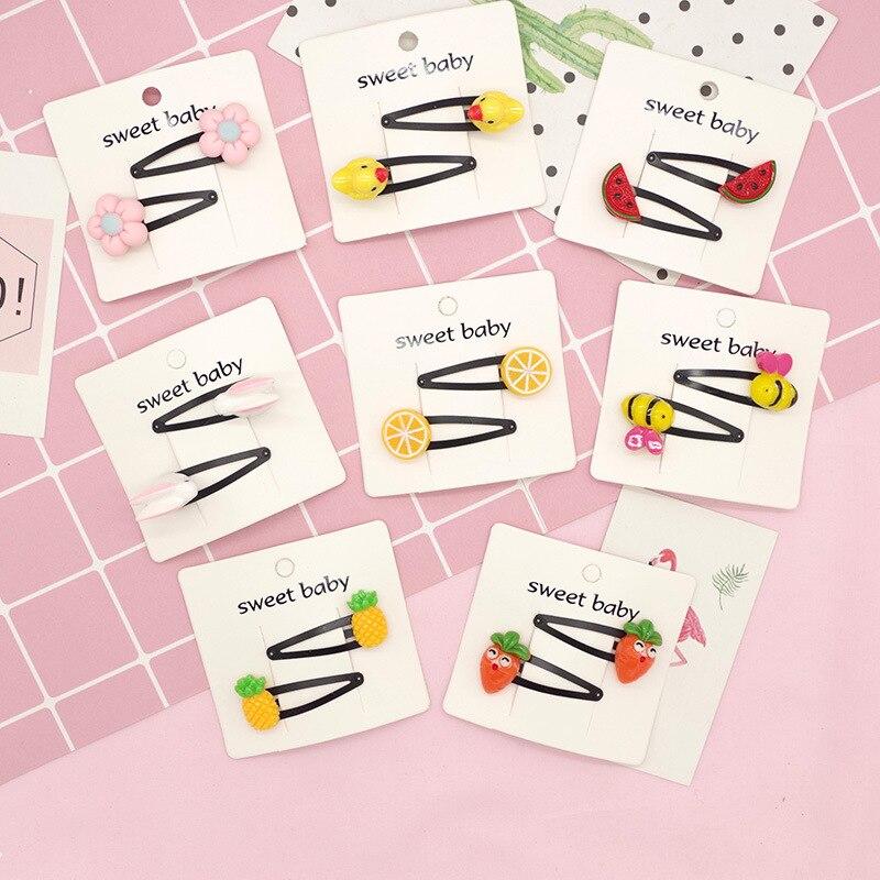 1 Pair Cute Pineapple Fruit Hair Clips Kids Girls Flower   Headwear   Hair Accessories Hairpins Cartoon BB Clip Barrette