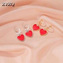 Zyzq простые серьги в виде сердца персикового цвета модные Малиновые
