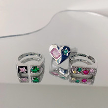 FFLACELL 2021 новый дизайн изысканные розовые прямоугольные циркониевые серебряные кольца в форме сердца для женщин и девушек ювелирные изделия ...