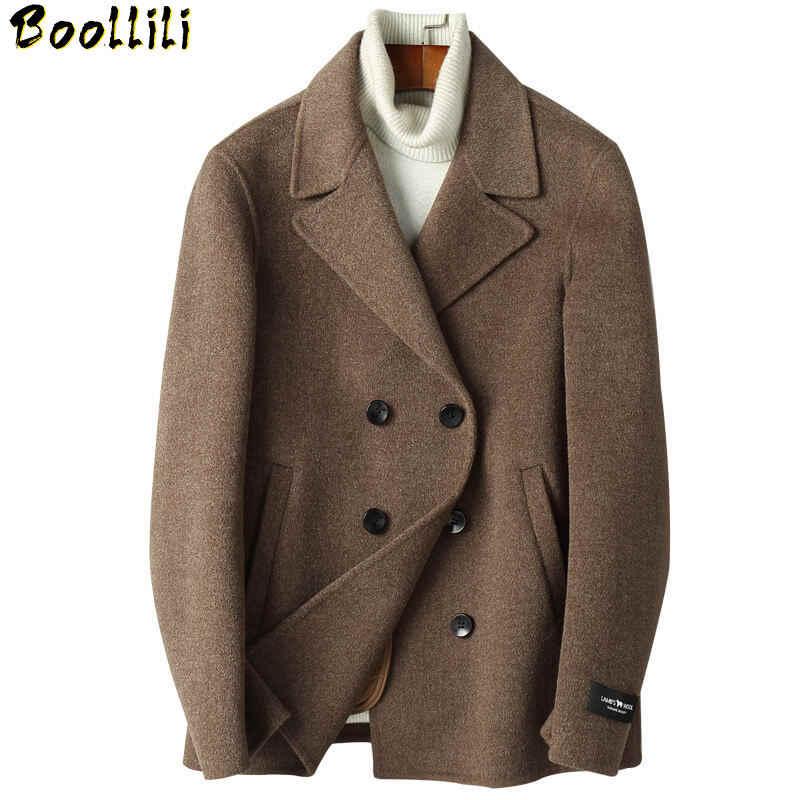 Boollili 100% Wool Coat Men Clothes 2020 Double Breasted Wool Jacket Short  Overcoat Spring Autumn Mens Coats|Wool & Blends| - AliExpress