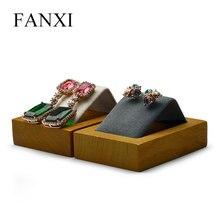 FANXI New Dark Grey or Beige Solid Wood Earrings Display Stand with Microfiber insert Earring Holder Ear Drop Organizer Showcas