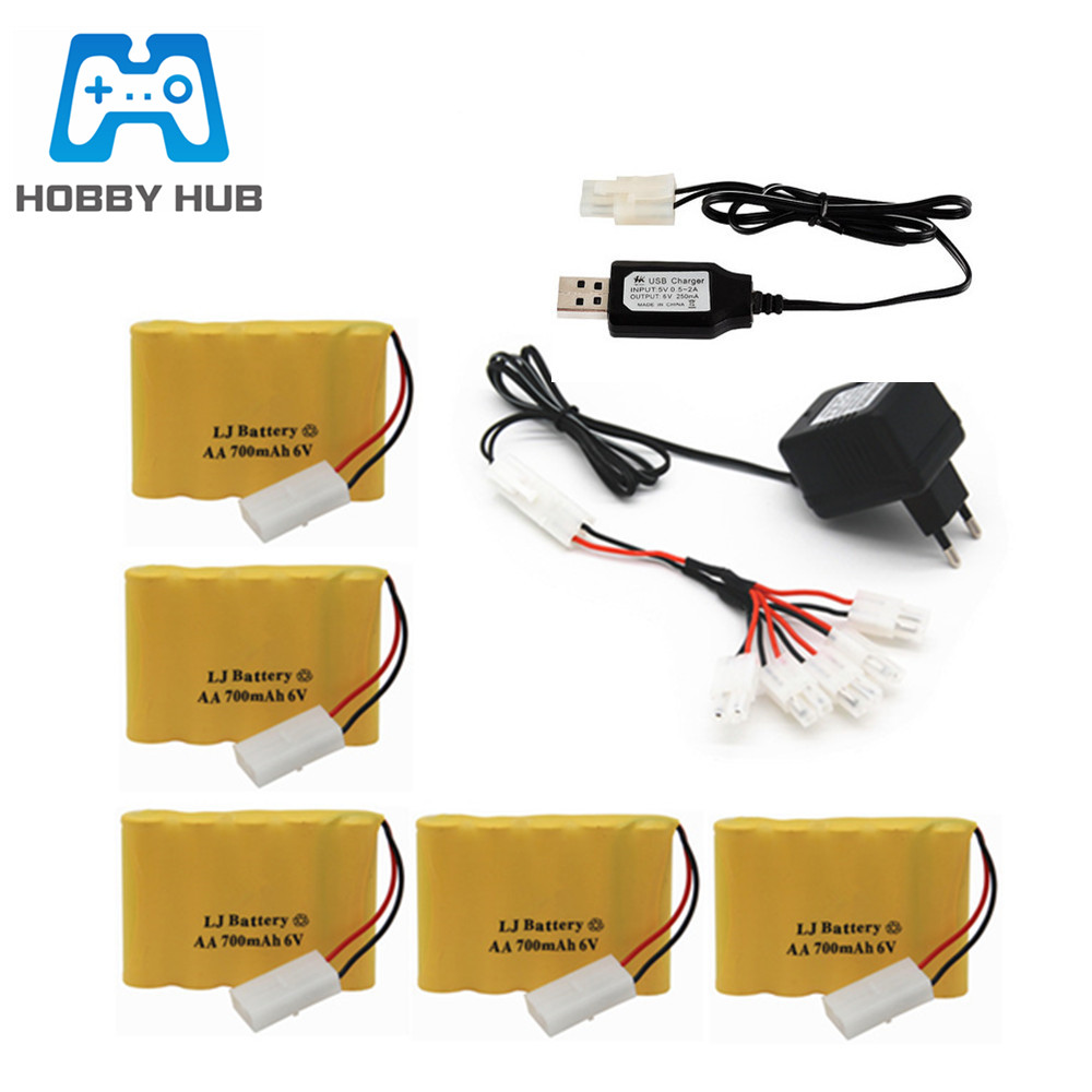 6v 700mAh NI-CD Battery And 6v Charger Set For RC Toys Car Boat Truck Train Gun Robot Part NICD AA 6V Rechargeable Battery Pack