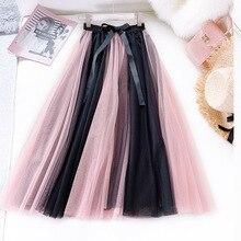 Summer High Waist Gauze Mesh Skirt Fashion Contrast Color Tulle Skirt Big Swing Umbrella Skirt Faldas Mujer Moda 2019 contrast gingham waist mesh overlay skirt
