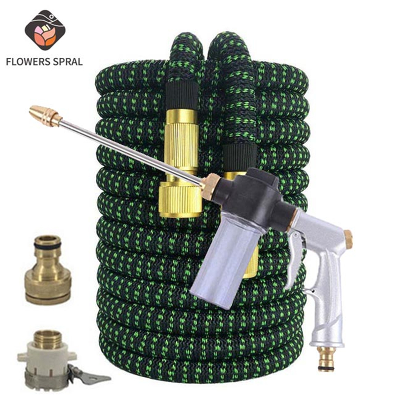 Hot 25FT-100FT Garden Expandable Hose Magic Rubber Hose EU Water Pipe High Pressure Car Wash Hose With Spray Gun Watering Garden