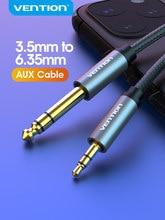 Vention cabo adaptador aux para amplificador de misturador, cabo bidirecional de 3.5mm a 6.35mm, jack de 6.5 para 3.5 cabo de áudio macho para macho
