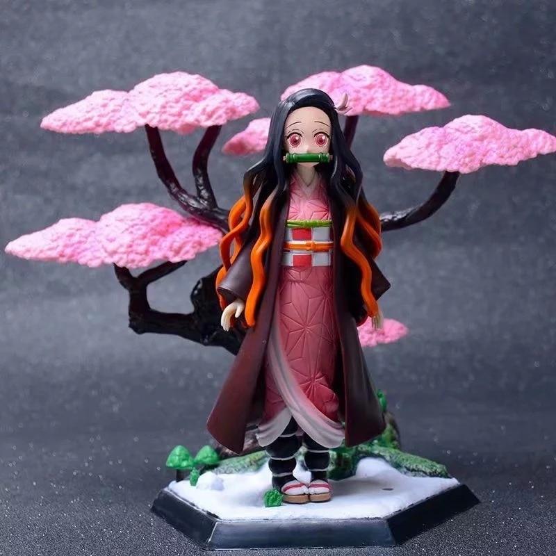 Demon Slayer Nezuko Zenitsu Statue PVC Action Figures Toys Anime Kimetsu No Yaiba Nezuko Sakura Scene Figurine Toy
