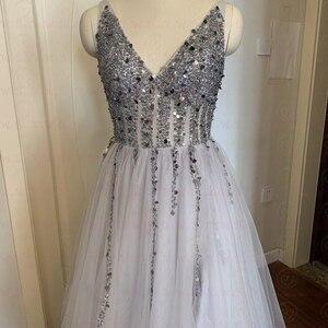 Image 4 - 2020 High Split Sexy V Neck Prom Dresses Tulle A Line Long vestidos de Formal Party Backless Elegant gala jurken Evening Gowns