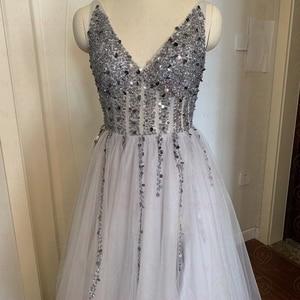 Image 4 - Robe de bal de forme trapèze, col en V, élégante, Tulle, échancré, dos nu, robes longues, robes de gala, 2020