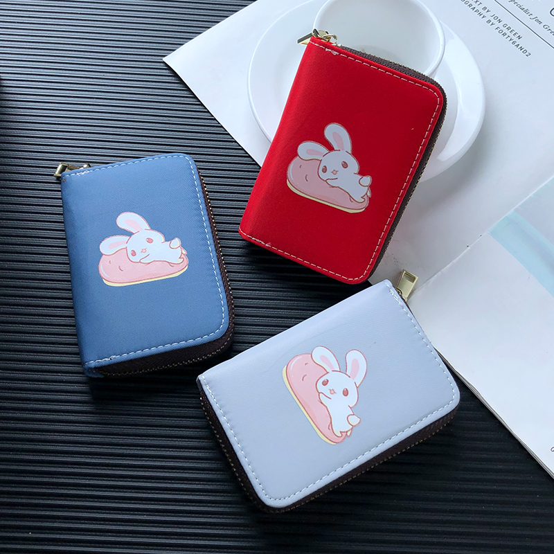 APP BLOG Sweet Cute Rabbit Women Girl Card Holder Passport Cover Credit ID Bank Cards Wallet Case Driver License Bags Coin Purse image