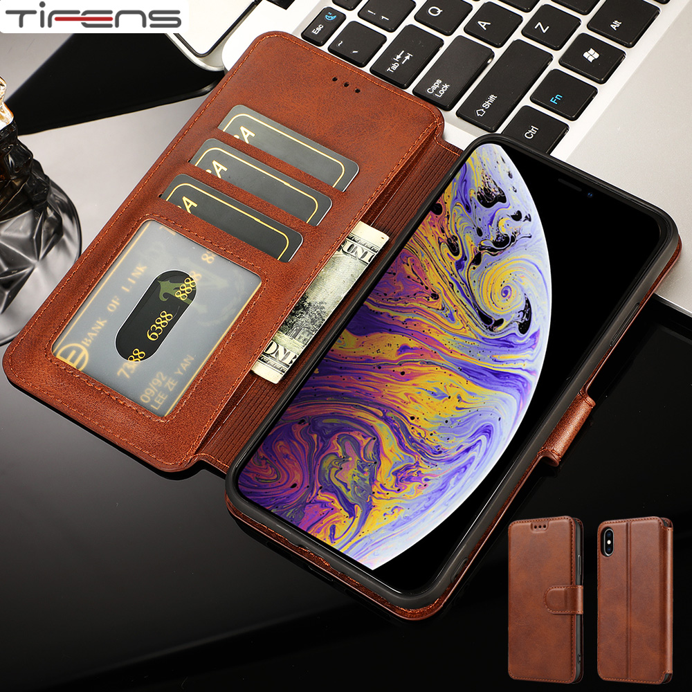 Luxury Leather Flip Wallet For iPhone SE 2020 Case For iPhone 11 Pro XS MAX X XR 8 7 6s 6 Plus 5 5s Cards Slot Phone Cover Coque(China)