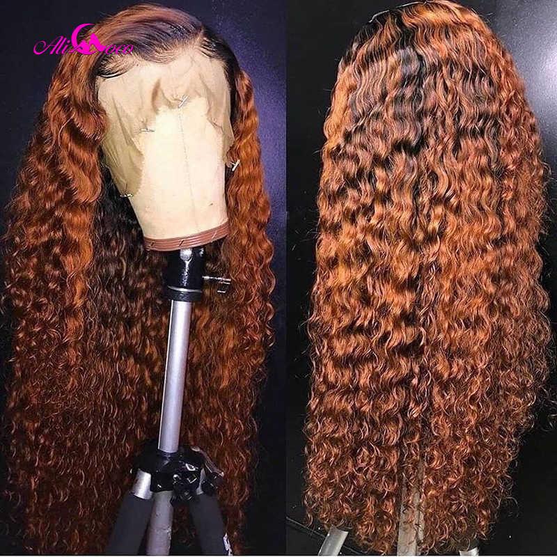 Ali coco 13x4 encaracolado perucas da parte dianteira do laço do cabelo humano 150% 1b/350/laranja gengibre ombre cor brasileira remy onda perucas pré arrancadas