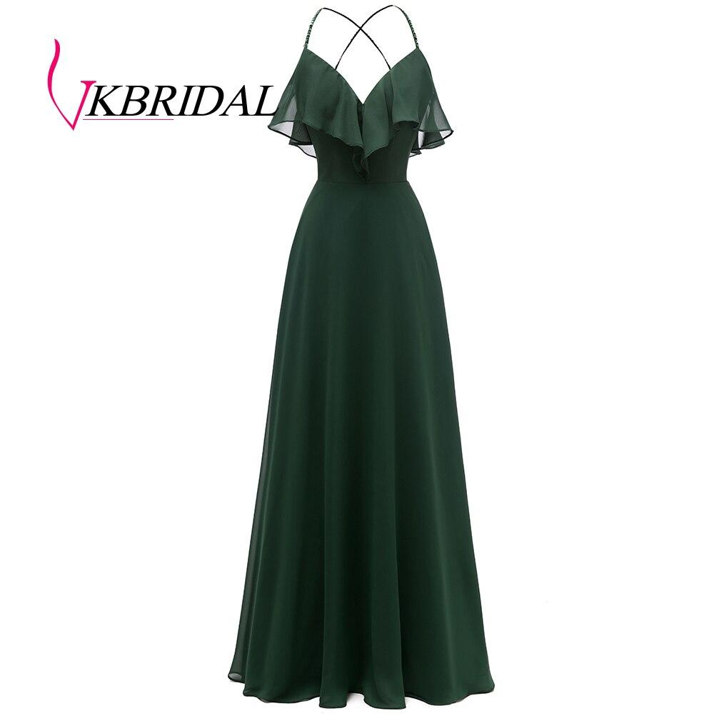 VKbridal Ruffles Chiffon Bridesmaid Dresses Long Spaghetti Straps V-Neck Prom Gowns Wedding Guest Formal Wear Cross Back