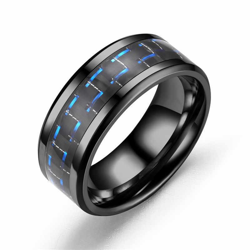 FDLK פאנק טיטניום פלדה שחור פחמן סיבי Mens טבעות 6 סגנון אופנה אדום כחול ירוק טבעת תכשיטים סיטונאי