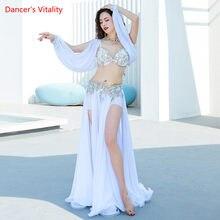 Costume de danse du ventre, soutien-gorge boutonné en diamant, grande jupe pivotante fendue, ensemble de vêtements de Performance pour femmes adultes, vêtements de compétition haut de gamme