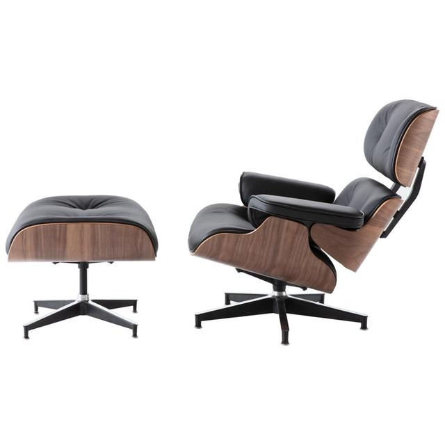 Furgle Modern Lounge Chair and Ottoman Black Walnut Wood Real Leather with Heavy Duty Base Support Recliner Chair for Relaxation 2