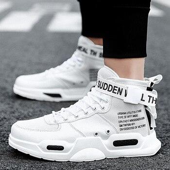 BomKinta High Top Men Black White Outdoor Walking Shoes Comfortable Big Size 36-47 Sneakers Men Trainers Buckle Couple Shoes