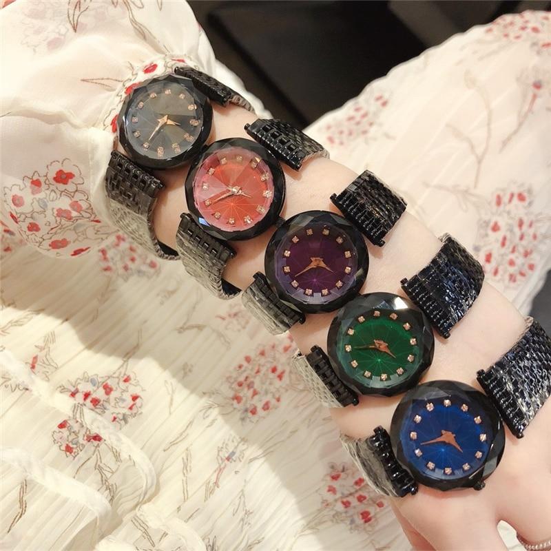 Brand D  Luxury High Quality Chameleon Glass Mirror Quartz Watches Gem Cut Geometry Black Steel Wristwatch Woman