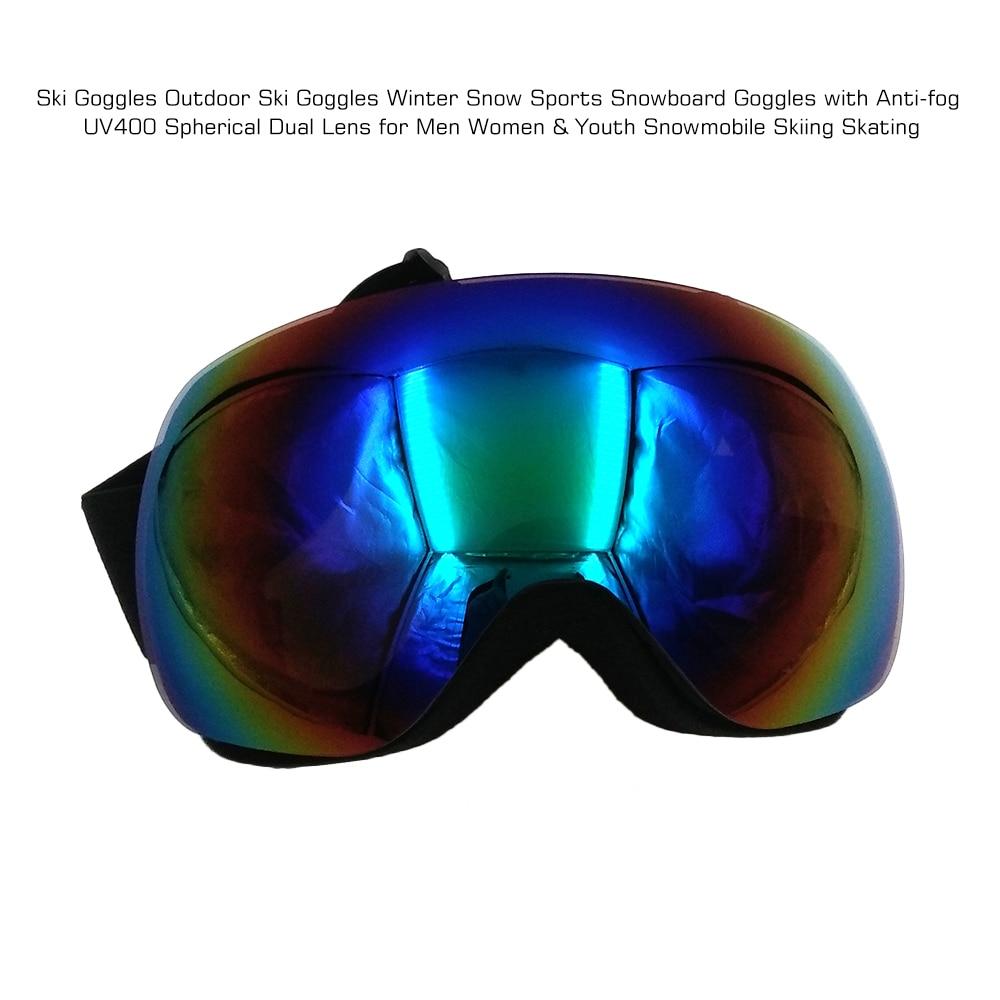 Lunettes de Ski lunettes de Ski en plein air Sports de neige d'hiver lunettes de Snowboard avec Anti-buée UV400 sphérique double lentille pour motos