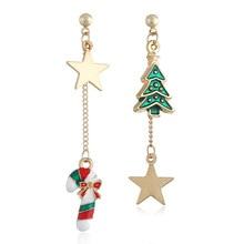 1Pair Christmas Earrings Asymmetric Dangle Star Tree Candy Shape Geometric Women Girls Party Modern Jewelry Gift