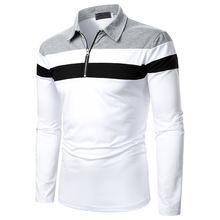 Рубашка поло мужская с длинным рукавом модная сорочка прострочкой