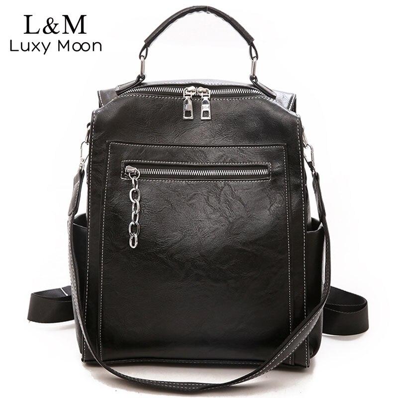 Women Backpack Leather School Bags For Teenage Girls Casual Large Capacity Multifunction Vintage Black Shoulder Bags 2019 XA158H