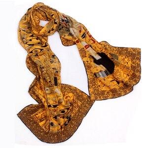 Image 1 - 46 Designs 2019 Van Gogh Oil Painting Silk Scarf Women & Men Scarf 100% Real Silk Scarves Female Luxury Designer Scarves