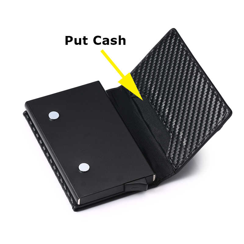 Bisi Goro Rfid Smart Wallet Credit Card Holder Metal Dunne Slanke Mannen Portefeuilles Pass Secret Pop Up Minimalistische Portemonnee Kleine portemonnee