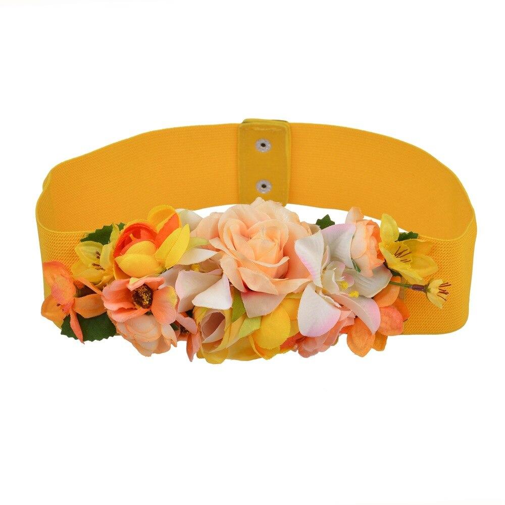 Fashion Women Elastic Wide Corset Belt For Women Glass Crystal Ceinture Ladies Thin Flower Inlaid Belt Waist Girdle BW26