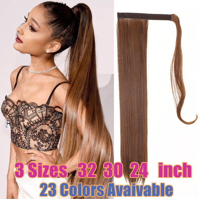 """Fake Natural Hair Ponytail Extensions Wig 32"""" 30"""" 24"""" Straight Long Pony Tail Wrap Around Clip-in Hair Piece Synthetic Hairpiece"""