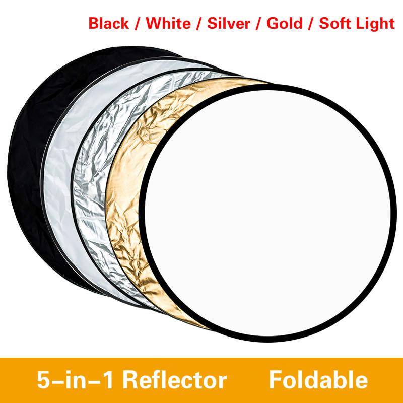 80cm 5 In 1 Portable Collapsible Golden Silver Reflectors Round Photography Light Reflector Handheld Photo Studio Disc Diffuser