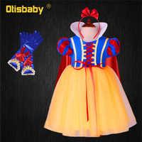 Neve branca vestido de manga puff vestido de princesa para meninas traje de halloween roupas de natal da criança presente de aniversário fantasia infantil