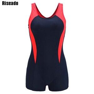 Image 5 - Riseado bañador deportivo de una pieza para mujer, traje de baño de retazos para mujer, traje de baño competitivo con espalda de corredor, ropa de baño para chico 2020