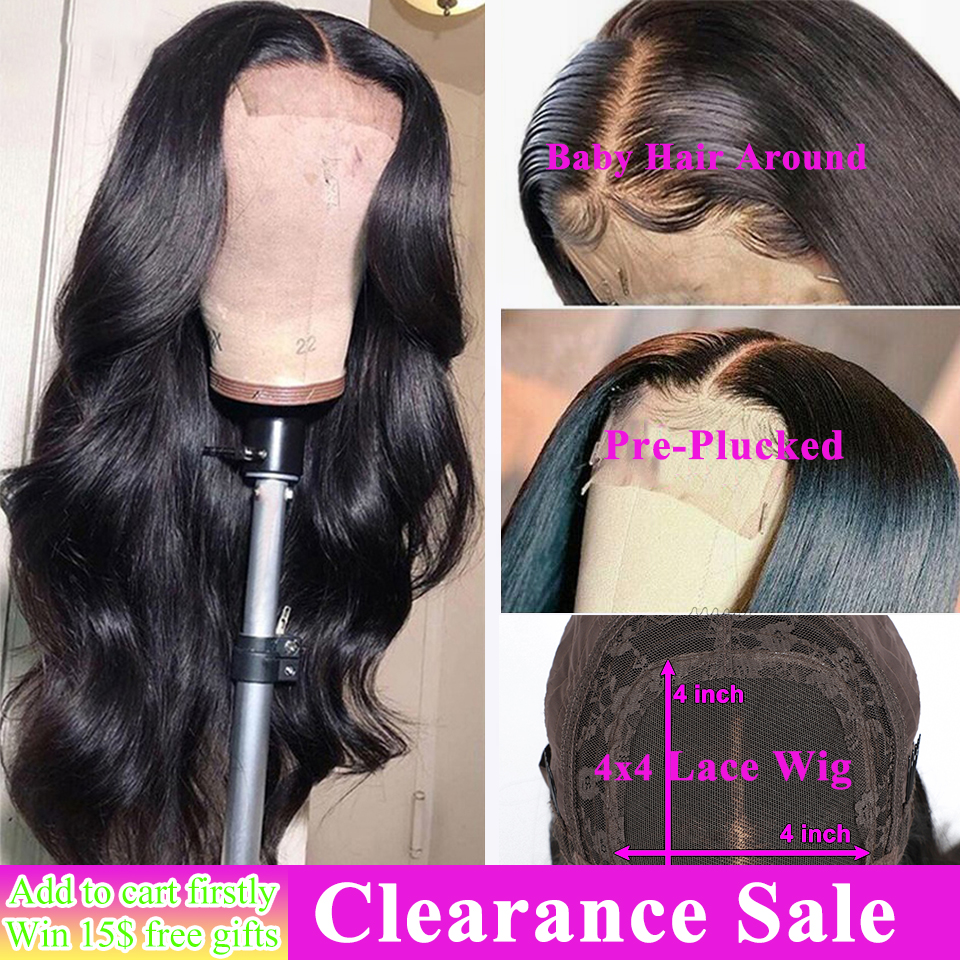 4x4 Lace Closure Wig Body Wave Lace Front Wig 26 Inch 150% Remy Brazilian Human Hair Wig Pre-plucked With Baby Hair Closure Wig