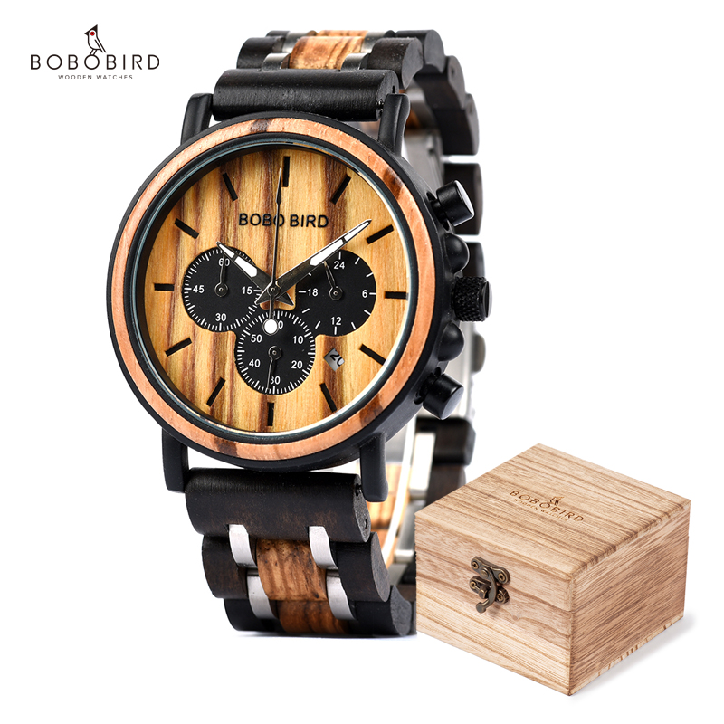 Reloj Hombre BOBO BIRD Wooden Waterproof Watches Men Chronograph Wristwatches Luminous Hands Stop Clock For Male DROPSHIPPING