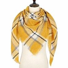 Дизайнер зимний шарф женский кашемировый шарфы платок качество хорошее теплый шерсть шарфы женские,модные плед шарфы платки палантины,большой шарф в форме треугольника 140*140*210CM