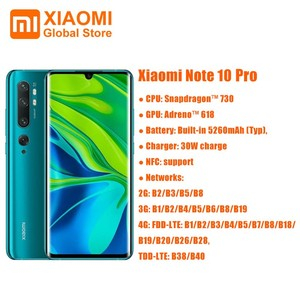 Global Version Xiaomi Mi Note 10 Pro 8GB 256GB Mobile Phone NFC Snapdragon 730G 108MP Cam 5260mAh 30W Fast Charging Smartphone