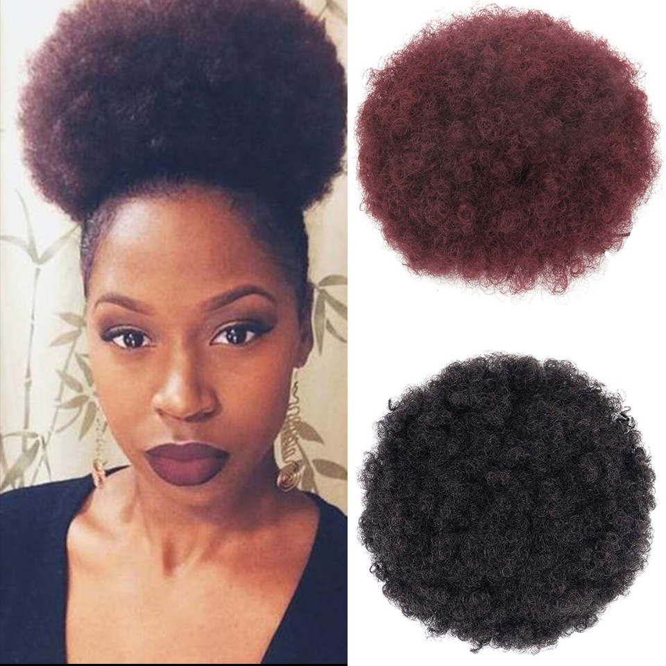 Afro Ponytail Drawstring Synthetic Chignon Hair Afro Buns Afro Kinky Curly Chignon Fiber Afro Fake Hair Extensions