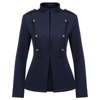 Curlbiuty Women's Casual Long Sleeve Stand Collar Buttons Decorated Coat unlined slim fit thermal coat