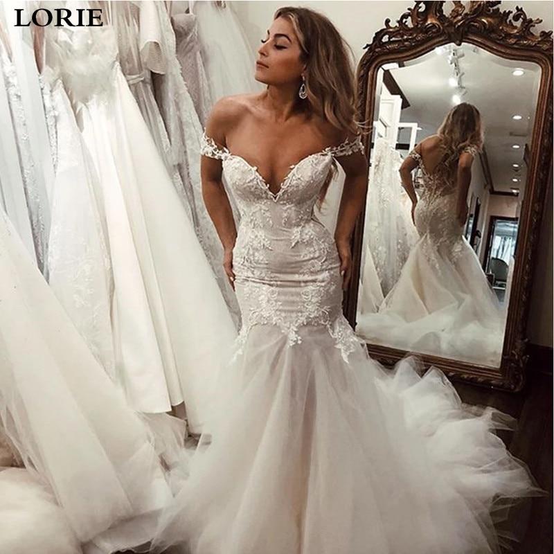 LORIE Boho Mermaid Wedding Dress Off The Shoulder Appliqued Lace Bride Gowns Sexy Long  Vestidos De Novia
