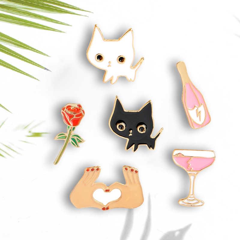 Kartun Kecil Bros Hitam Kucing Putih Mawar Anggur Kaca Botol Tangan Cinta Anda Enamel Pin Tombol Kerah Pin Lencana Grosir