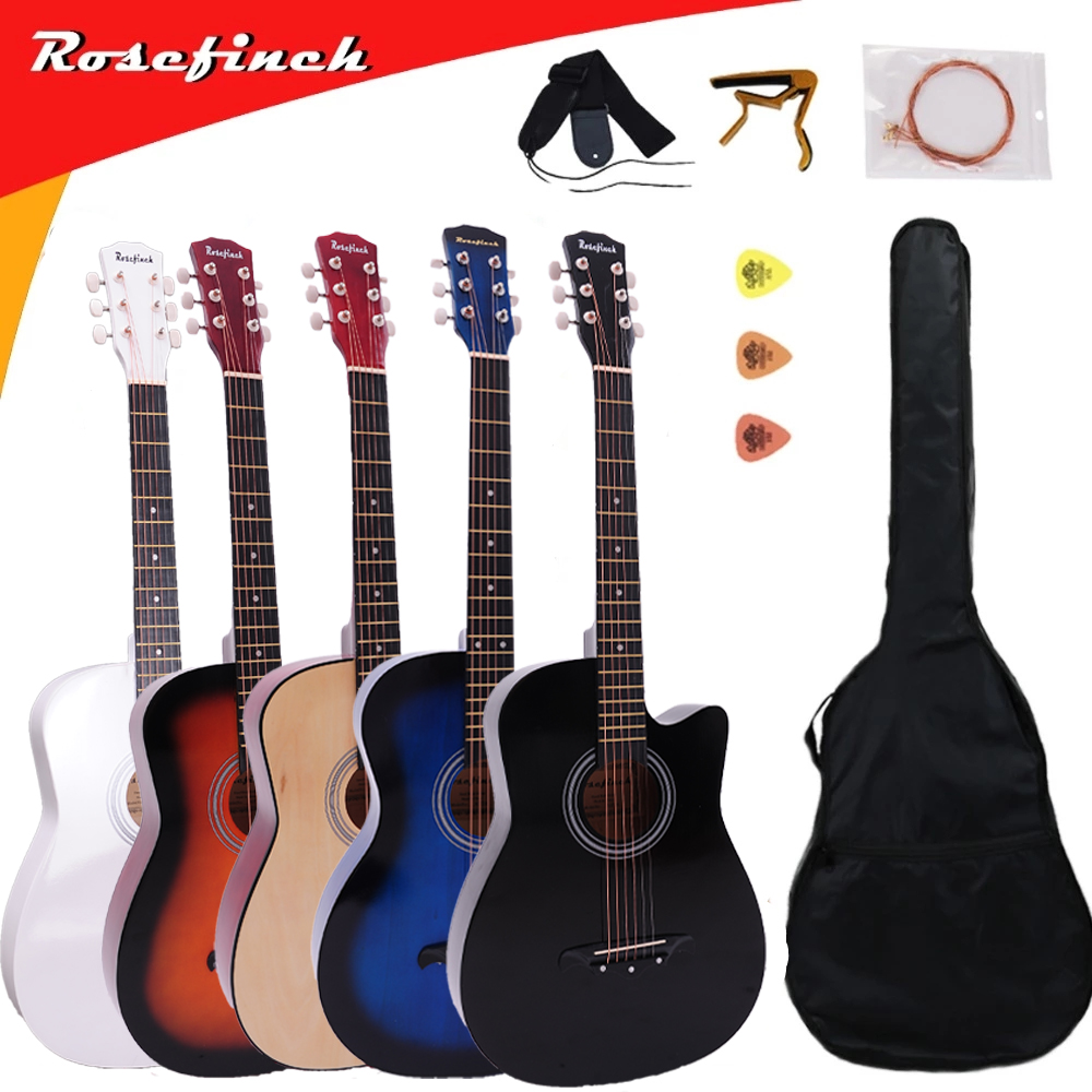 38/41 Inch Acoustic Guitar For Beginners Guitar Sets With Capo Picks 6 Strings Guitar Basswood  Musical Instruments AGT166