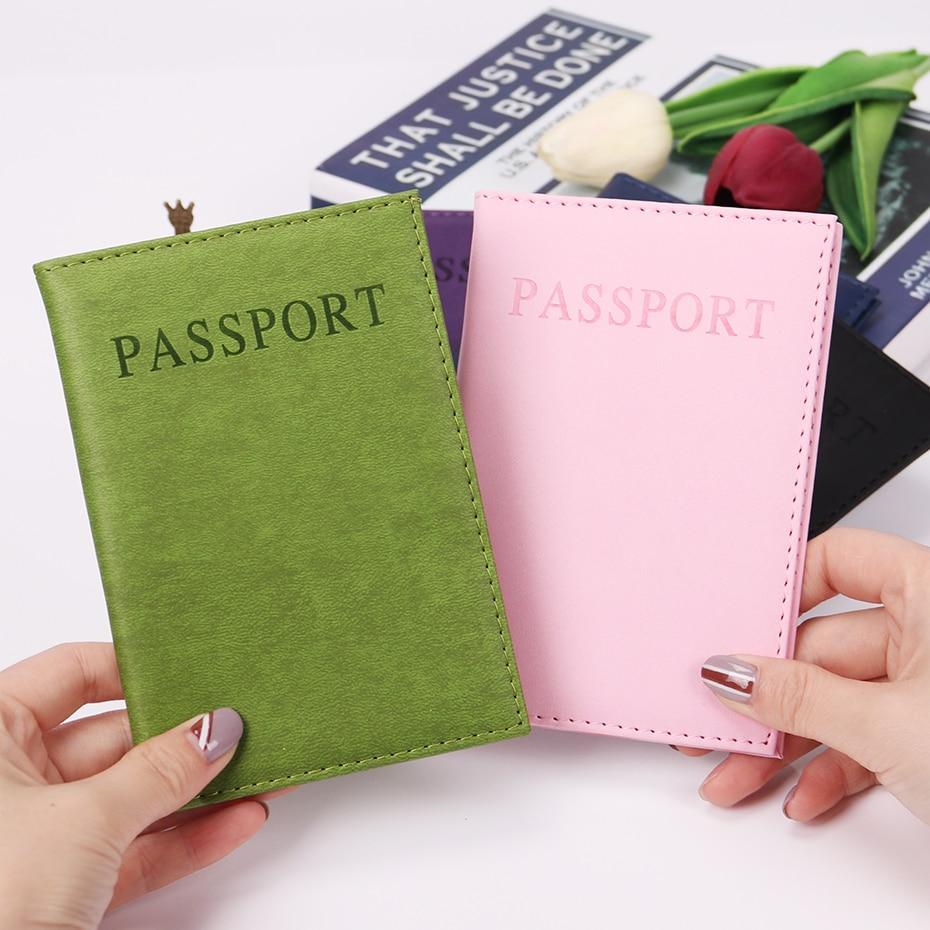 1PC Fashion New PU Women Passport Holder Couple Models Girls Travel Passport Cover Unisex Card Case Man Card Holder