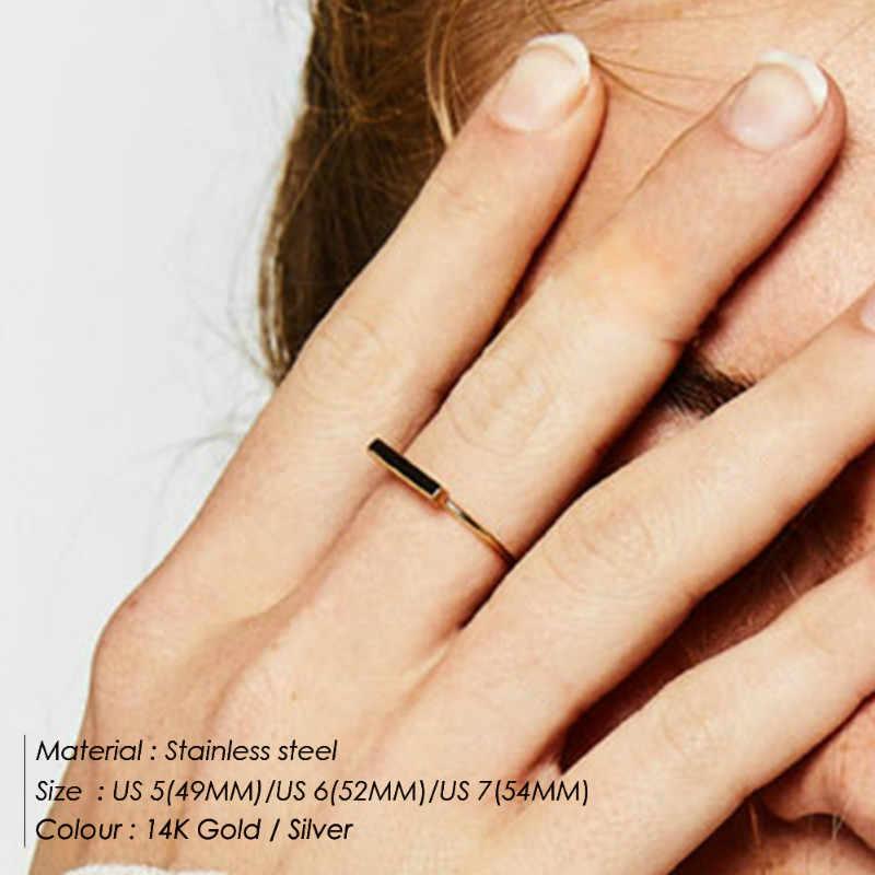 แหวนพังค์สแตนเลสเรขาคณิตแหวนสุภาพสตรี Rose Gold Elegant สีชมพูแหวนเงินสามารถซ้อนทับ MIDI เครื่องประดับ