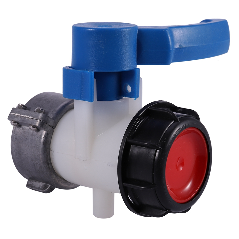ABSF IBC Tank Container 62mm Ball Valve DN40 With Free Turning Aluminum Nut -20 ° C - 70 ° C IBC Tank Ball Valve
