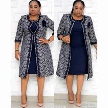 Set Dress Clothing-Dresses Dashiki Women 2piece Coat Christmas Riche Midi