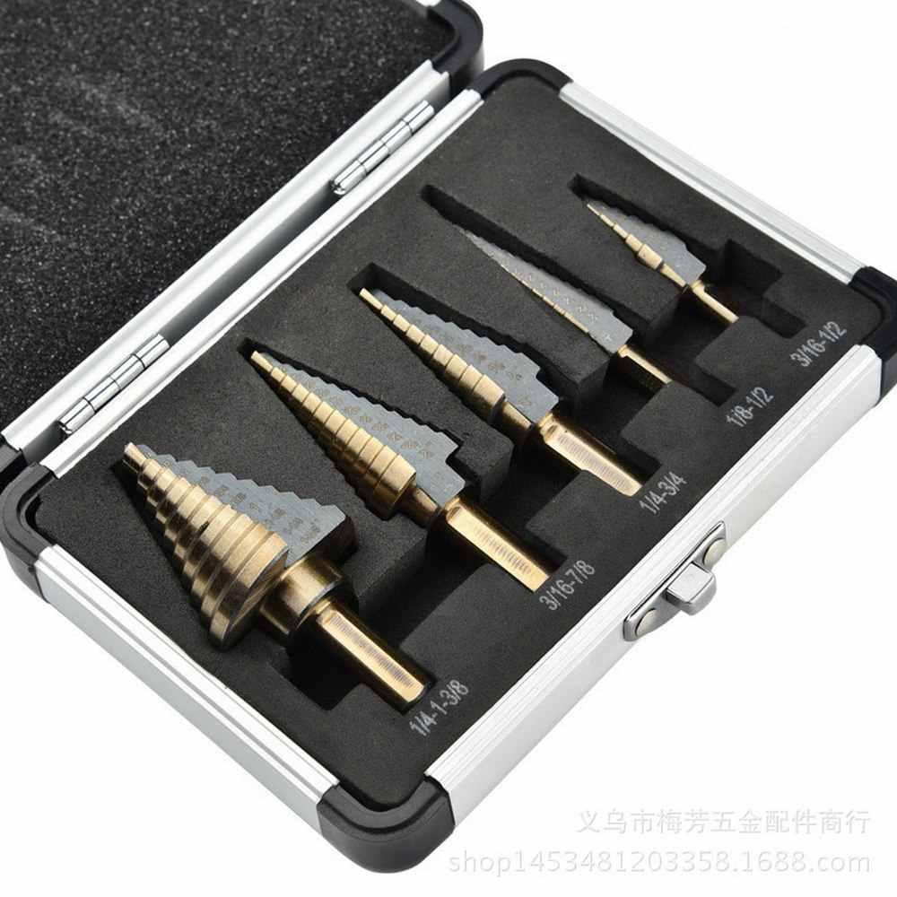 5 قطعة تويست مجموعة لقمة مثقاب التيتانيوم المغلفة فتحة مستقيم 13 خطوة عالية السرعة الصلب ثقب القاطع مجموعة P6M5 لقمة ثقب أدوات كهربائية