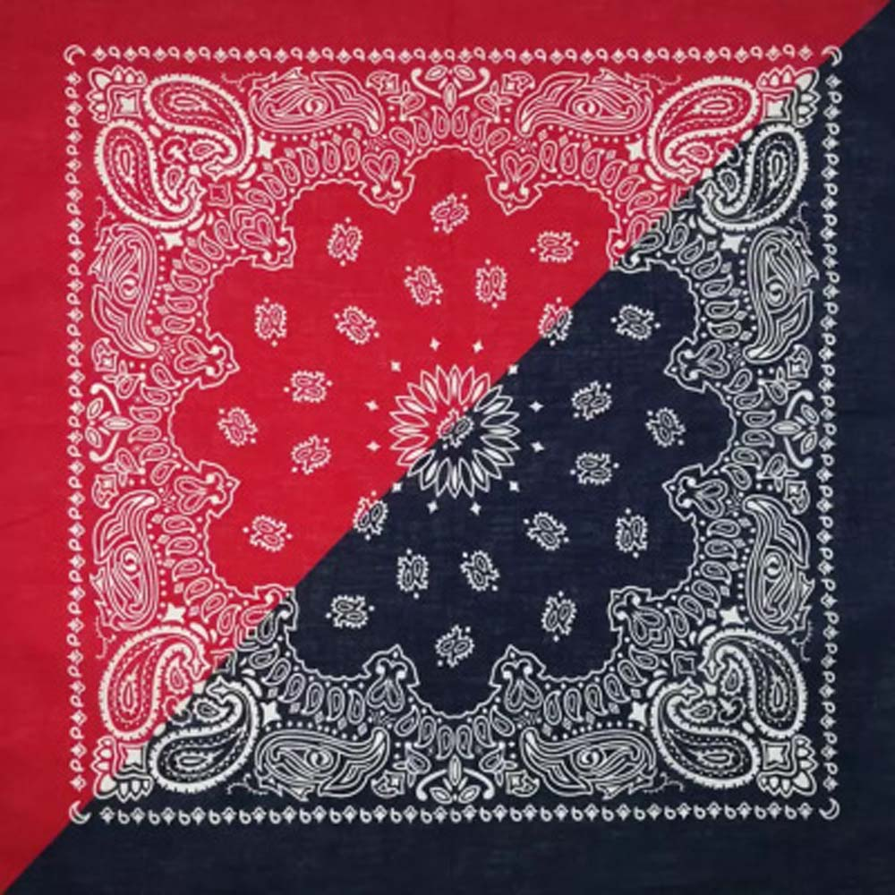 Bohemian Paisley Floral 55*55 Cm Double Color Block  Unisex Cotton Pocket Square Scarf Headband Wristband Neck Tie