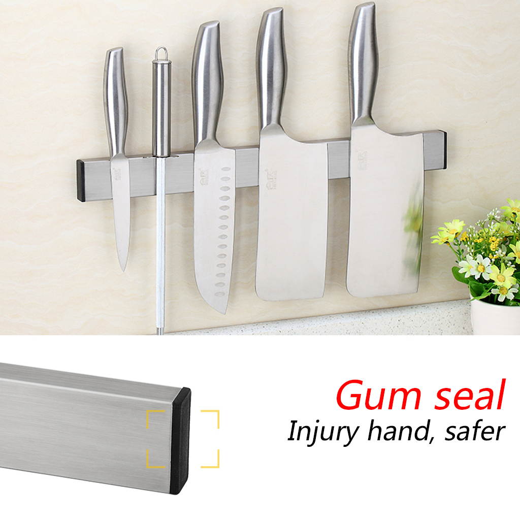 16inch Magnetic Knife Holder 304 Stainless Steel Wall Storage Rack Hook For Knives Kitchen Accessories Organizer Newest A06